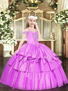 Lilac Ball Gowns Beading and Ruffled Layers High School Pageant Dress Lace Up Organza Sleeveless Floor Length