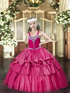 Hot Pink Ball Gowns Organza Straps Sleeveless Beading and Ruffled Layers Floor Length Lace Up Little Girl Pageant Gowns