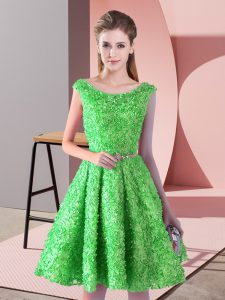 Traditional Green Lace Up Scoop Belt Dress for Prom Lace Sleeveless