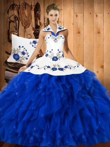 Designer Floor Length Ball Gowns Sleeveless Blue And White Ball Gown Prom Dress Lace Up