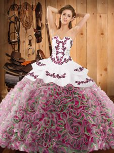 Charming Strapless Sleeveless Satin and Fabric With Rolling Flowers Quince Ball Gowns Embroidery Sweep Train Lace Up