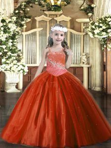 Rust Red Sleeveless Tulle Lace Up Pageant Dress Womens for Party and Quinceanera