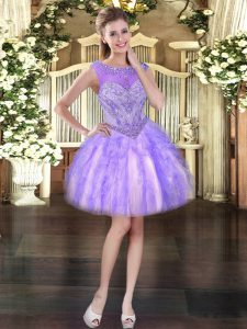 Charming Ball Gowns Lavender Scoop Tulle Sleeveless Mini Length Lace Up