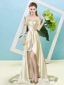 Discount Light Yellow Off The Shoulder Neckline Sequins Prom Evening Gown Short Sleeves Lace Up