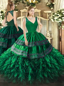 Classical Dark Green Sleeveless Organza Backless Quinceanera Dress for Military Ball and Sweet 16 and Quinceanera