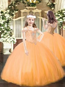 Best Sleeveless Beading Lace Up Girls Pageant Dresses