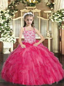 Straps Sleeveless Organza Little Girls Pageant Dress Wholesale Beading and Ruffles Lace Up