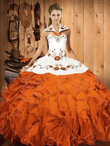 Custom Design Floor Length Orange Red 15 Quinceanera Dress Satin and Organza Sleeveless Embroidery and Ruffles