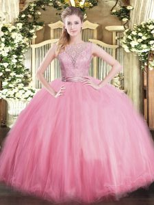 Baby Pink 15th Birthday Dress Military Ball and Sweet 16 and Quinceanera with Lace Scoop Sleeveless Backless
