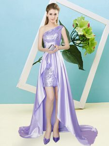 Hot Selling Lavender Sleeveless Elastic Woven Satin and Sequined Lace Up Homecoming Dress for Prom and Party