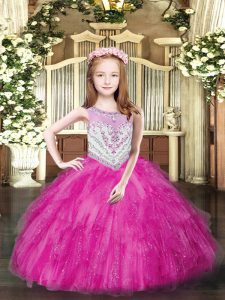 Sleeveless Tulle Floor Length Zipper Little Girl Pageant Gowns in Fuchsia with Beading and Ruffles