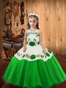 Organza Lace Up Straps Sleeveless Floor Length Child Pageant Dress Embroidery