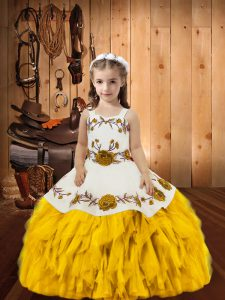 Unique Gold Lace Up Pageant Dress for Girls Embroidery and Ruffles Sleeveless Floor Length