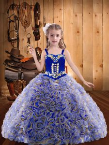 Multi-color Sleeveless Embroidery and Ruffles Floor Length Little Girl Pageant Gowns