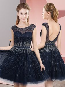 Elegant Navy Blue Sleeveless Tulle Backless Prom Dresses for Prom and Party