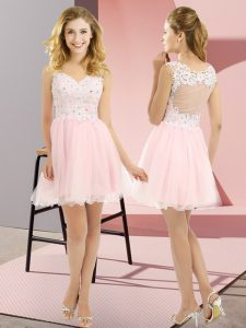 Empire Court Dresses for Sweet 16 Baby Pink V-neck Tulle Sleeveless Mini Length Lace Up