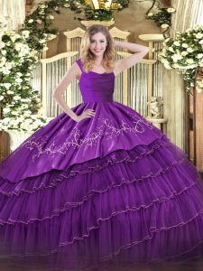 Pretty Eggplant Purple Ball Gowns Straps Sleeveless Satin and Organza Floor Length Zipper Embroidery and Ruffled Layers Quinceanera Dresses