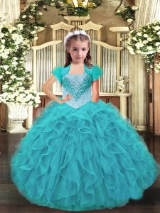 Sleeveless Ruffles Lace Up Little Girl Pageant Dress