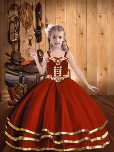 Organza Straps Sleeveless Lace Up Beading and Embroidery and Ruffled Layers Child Pageant Dress in Rust Red