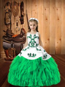 Floor Length Turquoise Little Girls Pageant Gowns Organza Sleeveless Embroidery and Ruffles