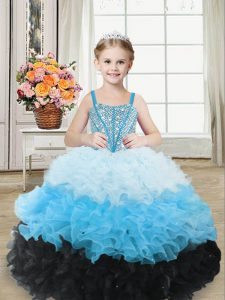 Sweetheart Sleeveless Little Girls Pageant Dress Floor Length Beading and Ruffles Multi-color Organza