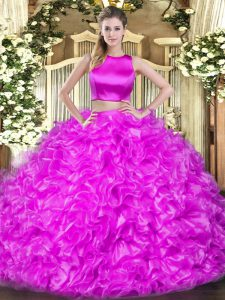 Exquisite Lilac Sleeveless Ruffles Floor Length 15th Birthday Dress