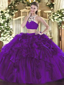 Charming Sleeveless Tulle Floor Length Backless Sweet 16 Quinceanera Dress in Eggplant Purple with Beading and Ruffles
