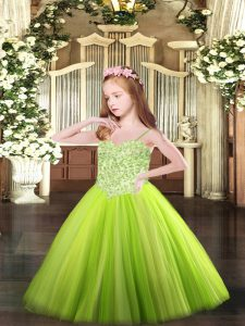 Excellent Yellow Green Sleeveless Appliques Floor Length Little Girls Pageant Gowns