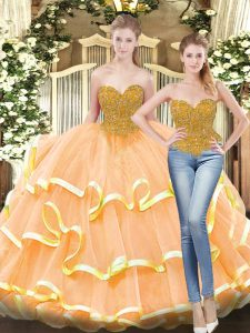Floor Length Lace Up Sweet 16 Dresses Peach for Military Ball and Sweet 16 and Quinceanera with Beading and Ruffled Layers