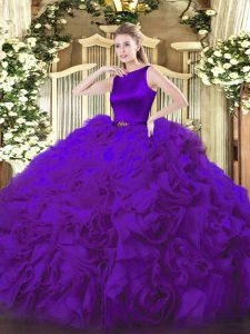 Purple Sleeveless Fabric With Rolling Flowers Clasp Handle Sweet 16 Dress for Military Ball and Sweet 16 and Quinceanera