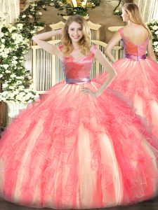 Sexy Watermelon Red Zipper Quinceanera Gowns Beading and Ruffles Sleeveless Floor Length