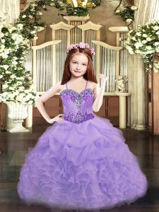 Discount Ball Gowns Girls Pageant Dresses Lavender Spaghetti Straps Organza Sleeveless Floor Length Lace Up