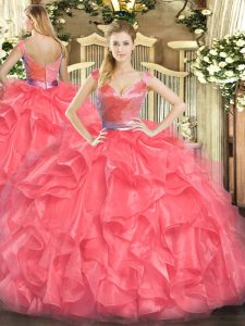Tulle V-neck Sleeveless Zipper Beading and Ruffles Quinceanera Dress in Coral Red