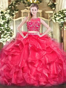 High Class Red Two Pieces Tulle Scoop Sleeveless Beading and Ruffles Floor Length Zipper Sweet 16 Quinceanera Dress
