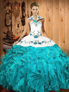 Aqua Blue Satin and Organza Lace Up Halter Top Sleeveless Floor Length Quinceanera Dress Embroidery and Ruffles