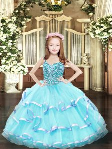 Superior Straps Sleeveless Organza Pageant Dress for Teens Beading and Ruffled Layers Lace Up