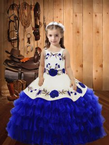Best Royal Blue Ball Gowns Embroidery and Ruffled Layers Little Girls Pageant Dress Lace Up Organza Sleeveless Floor Length