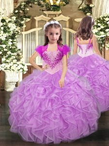Dramatic Ball Gowns Pageant Dresses Lilac Straps Organza Sleeveless Floor Length Lace Up