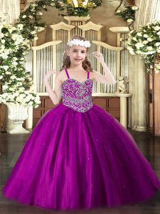 Perfect Fuchsia Ball Gowns Beading Pageant Dress for Teens Lace Up Tulle Sleeveless Floor Length