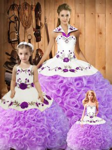 Cute Lilac Sleeveless Embroidery Floor Length Quinceanera Gowns