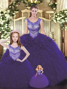Custom Designed Scoop Sleeveless Lace Up Quinceanera Gowns Dark Purple Tulle