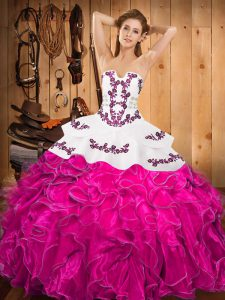 Embroidery and Ruffles Sweet 16 Dresses Fuchsia Lace Up Sleeveless Floor Length