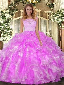 Lilac Ball Gowns Organza Scoop Sleeveless Lace and Ruffles Floor Length Clasp Handle Sweet 16 Quinceanera Dress