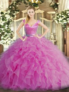 Lilac V-neck Neckline Ruffles Ball Gown Prom Dress Sleeveless Zipper