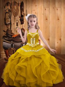 Custom Design Floor Length Gold Pageant Dress Womens Straps Sleeveless Lace Up
