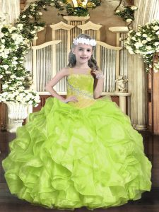 Yellow Green Lace Up Pageant Dress Wholesale Beading Sleeveless Floor Length