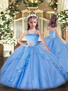 Gorgeous Baby Blue Lace Up Winning Pageant Gowns Appliques and Ruffles Sleeveless Floor Length