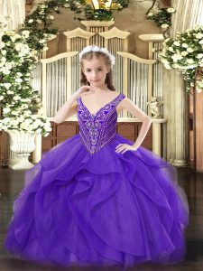 Customized Sleeveless Floor Length Beading and Ruffles Zipper Pageant Dress for Girls with Eggplant Purple