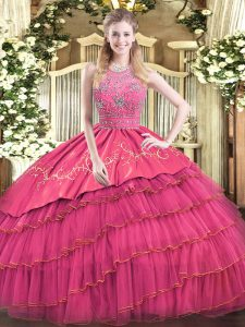 Hot Pink Quinceanera Gown Military Ball and Sweet 16 and Quinceanera with Beading and Embroidery and Ruffled Layers Halter Top Sleeveless Zipper