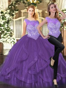Purple Scoop Neckline Beading and Ruffles Quinceanera Dress Sleeveless Zipper
